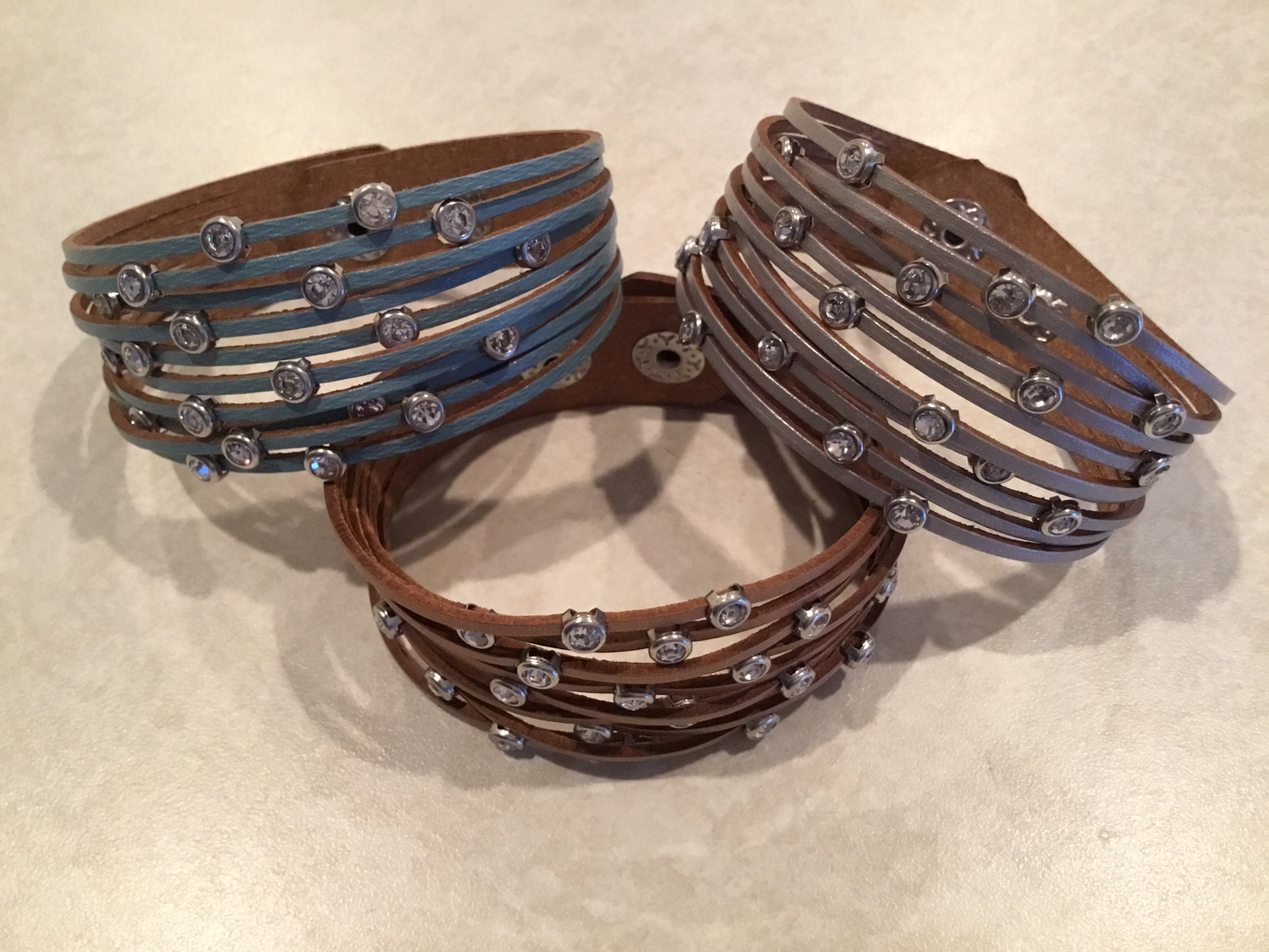 Leather Bracelet With Silver in Rose Silver And Blue