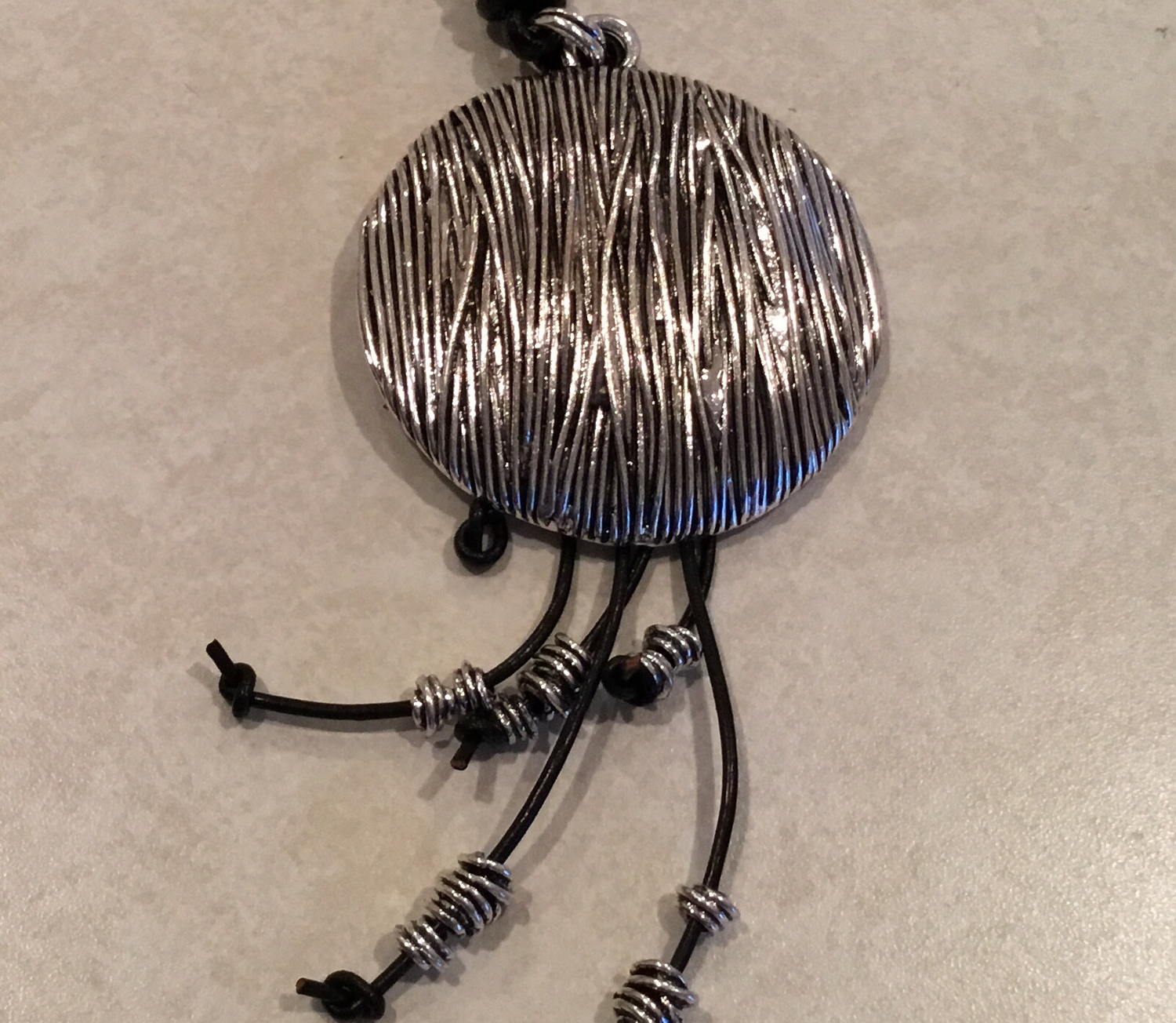 Black Leather Long Wire Wrapped Pendant Necklace