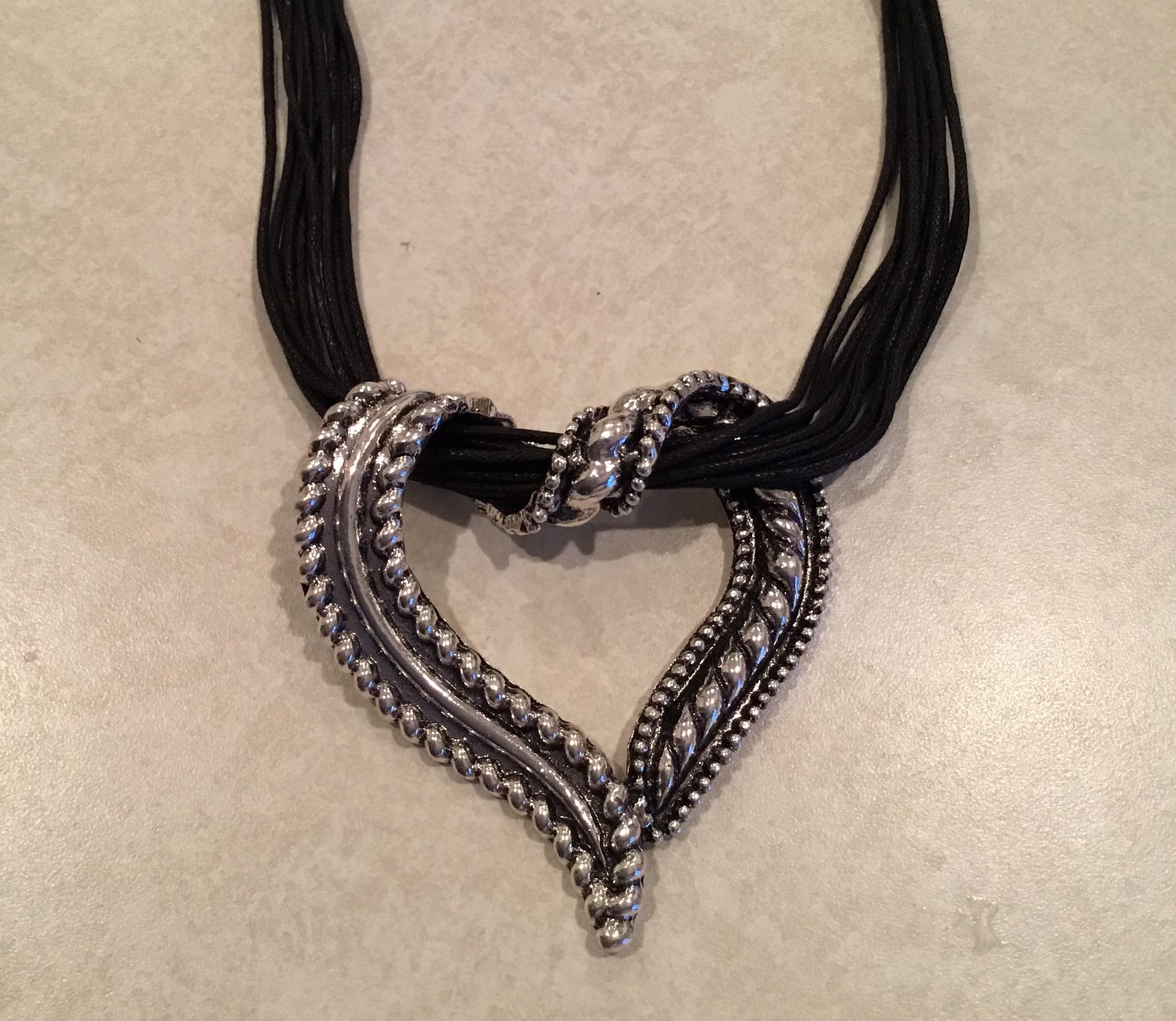 Leather Necklace With Antique Heart