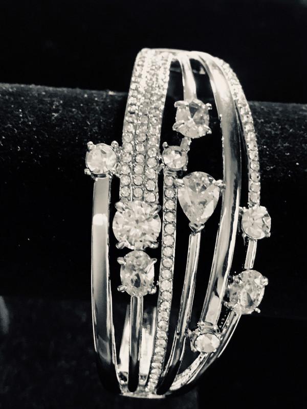 Silver Wide Multi-Crystal Bracelet
