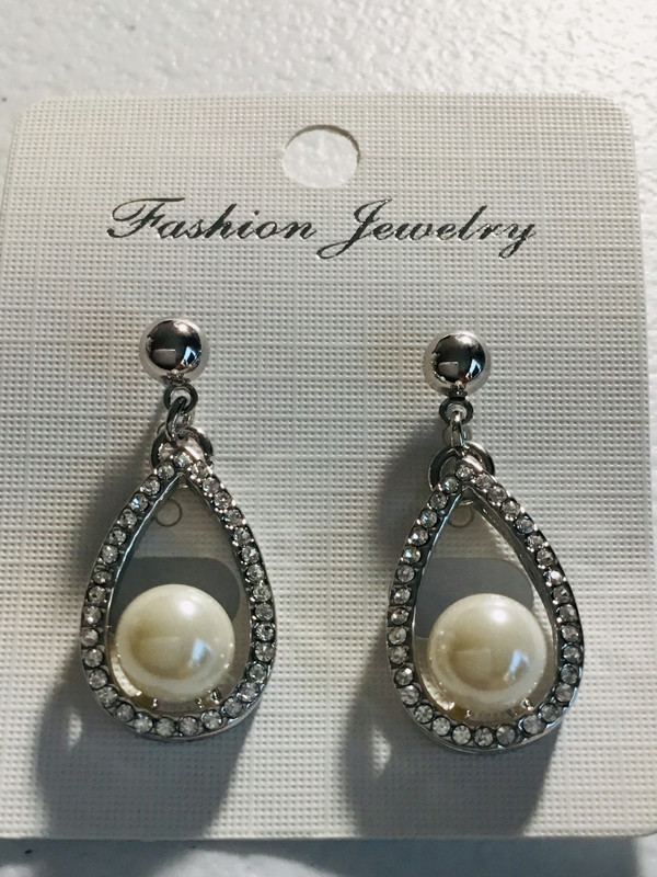 Silver Crystal with Pearl Earrings