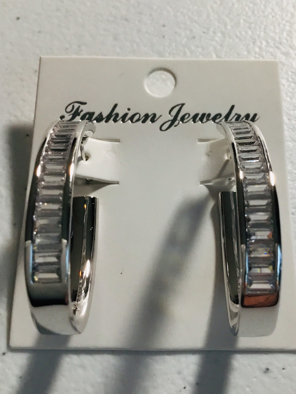 Silver Baguette Crystal Oval Earrings