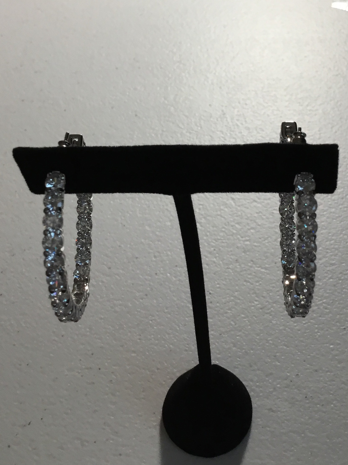 Silver Round Crystal Hoop Earrings