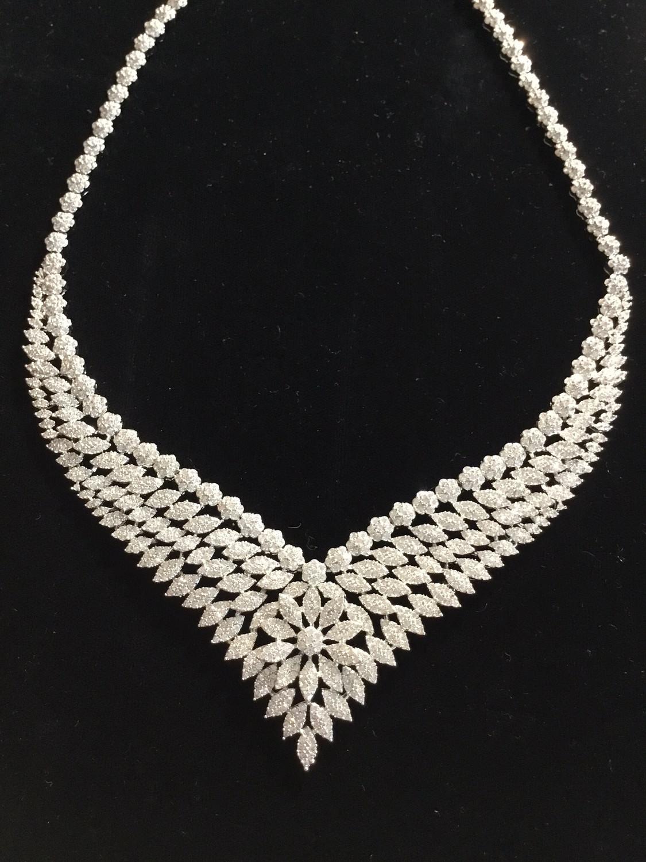Elegant Crystal V-Flower Designer Necklace