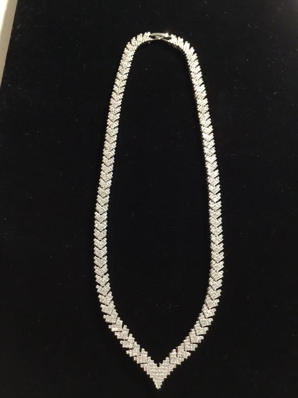 Silver Crystal Leaf Designers Necklace