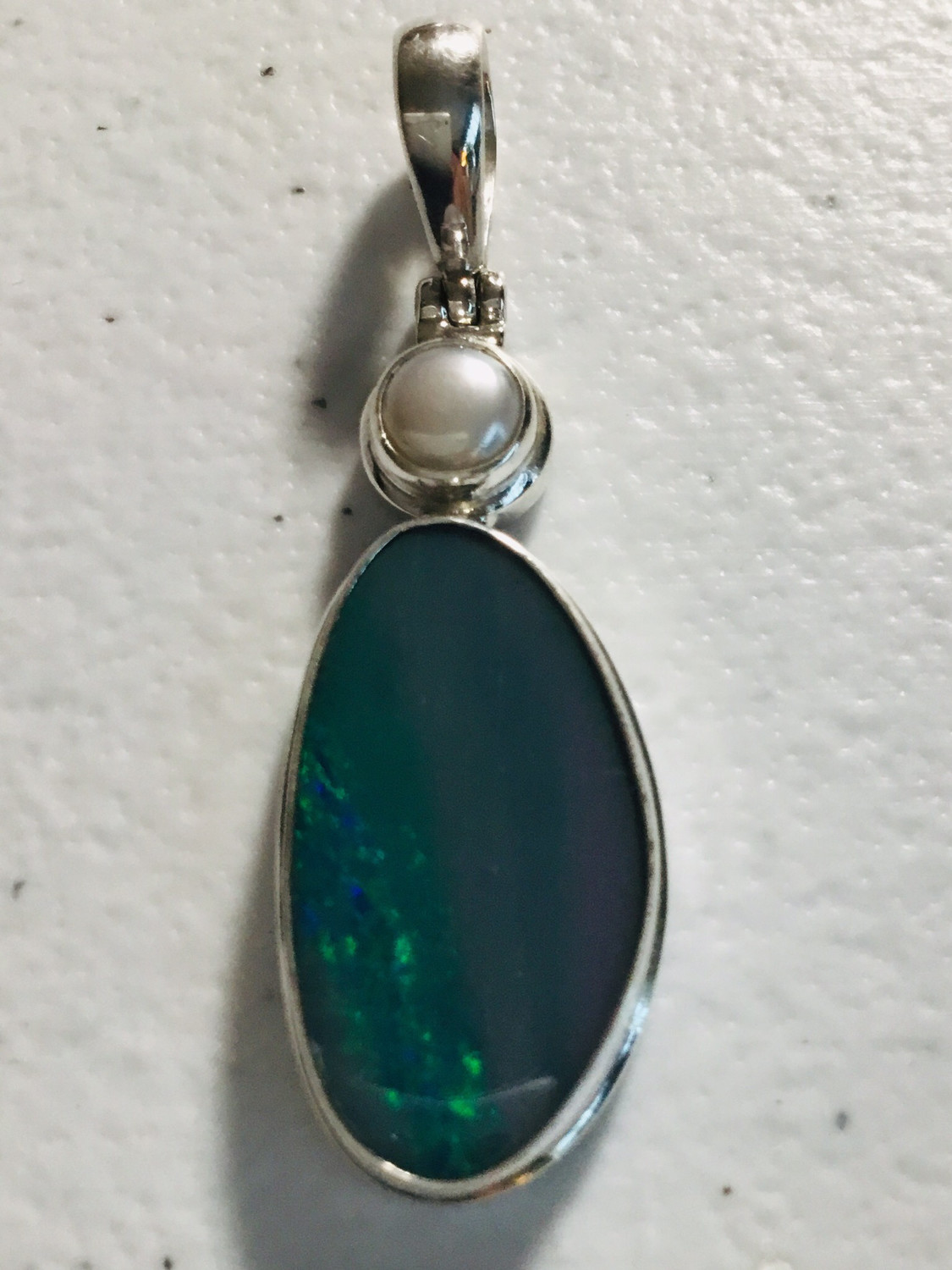 Sterling Silver Australian Opal With Pearl