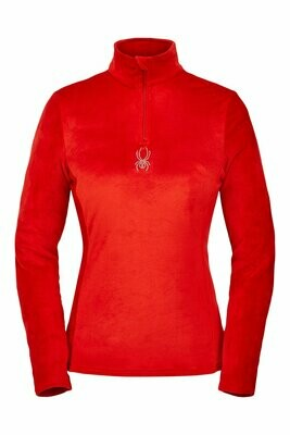 Spyder Women's Shimmer Bug Zip T-Neck Top - Velour Fleece Pullover Shirt Sweater