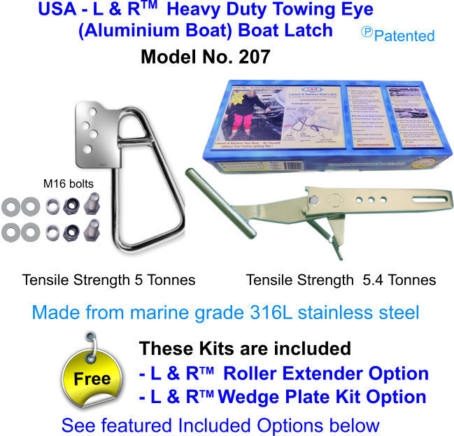 USA - L & R  Heavy Duty Towing Eye (Aluminium Boat) Boat Latch FOR boats over 21 ft (6.5M)