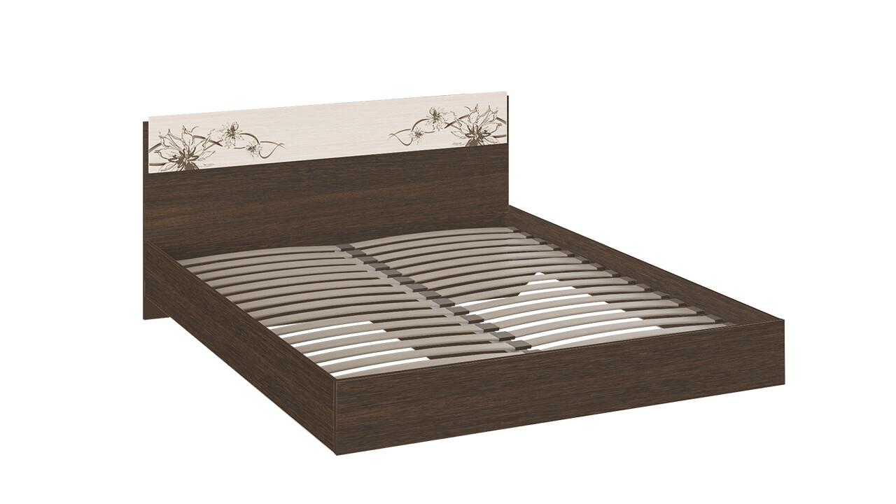 Двуспальная кровать «Мишель» 1600 (Венге Цаво/Дуб Белфорт с рисунком) ШОК ЦЕНА