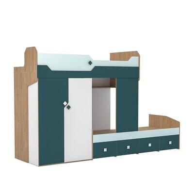 Кровать двухъярусная со шкафом Джуниор 11.06