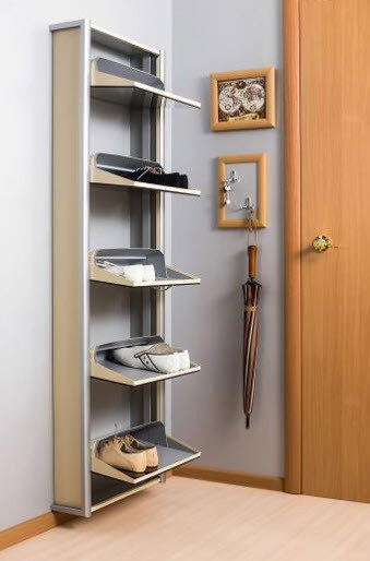 "Обувной шкаф ""Элегант"", зеркало, в металлическом корпусе, серебро."