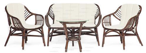 Комплект для отдыха «Сонома» (Sonoma) нат. ротанг. Диван + 2 кресла + стол круглый со стеклом