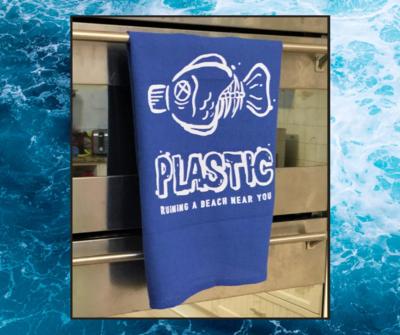 Tea Towel - Plastic Ruining a Beach Near You