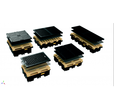 Bac de rétention 4 fûts  / 1 Block Palette • PE Nouvelle Génération 400 L