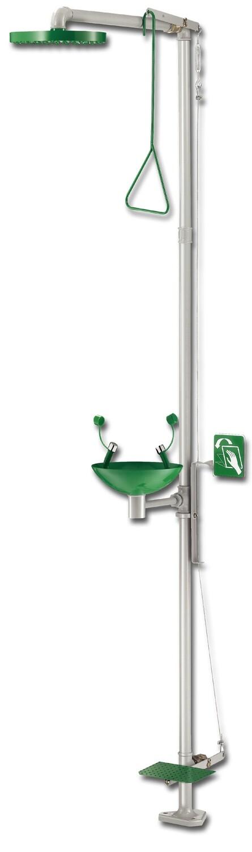Combiné douche et laveur d'yeux à commande par pédale incongelable – Vasque en inox