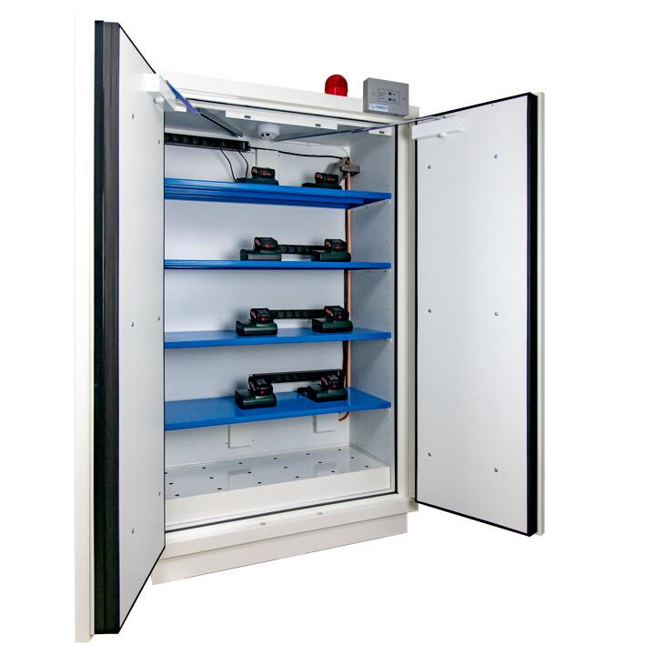 Armoire Stockage Batterie Lithium - Haute - 2 portes avec extincteur et alarme