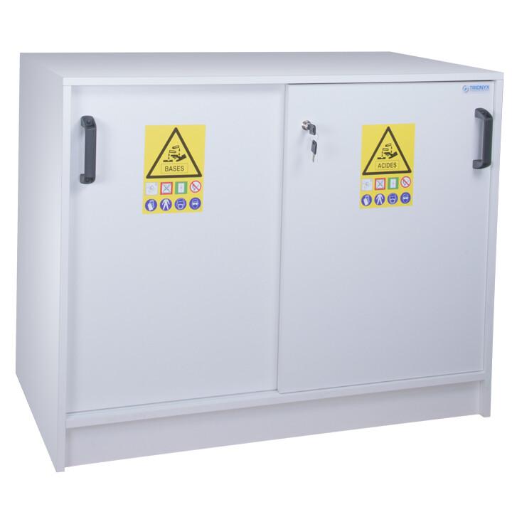 Armoire de sécurité (PVC) pour acides et bases - Comptoir 2 portes coulissantes