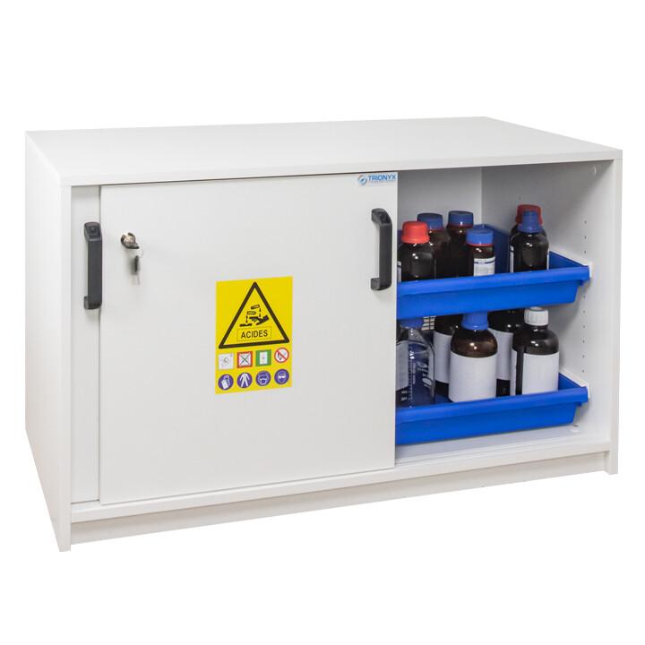 Armoire de sécurité (Mélaminé) pour acides et bases - Sous-paillasse - 2 portes coulissantes