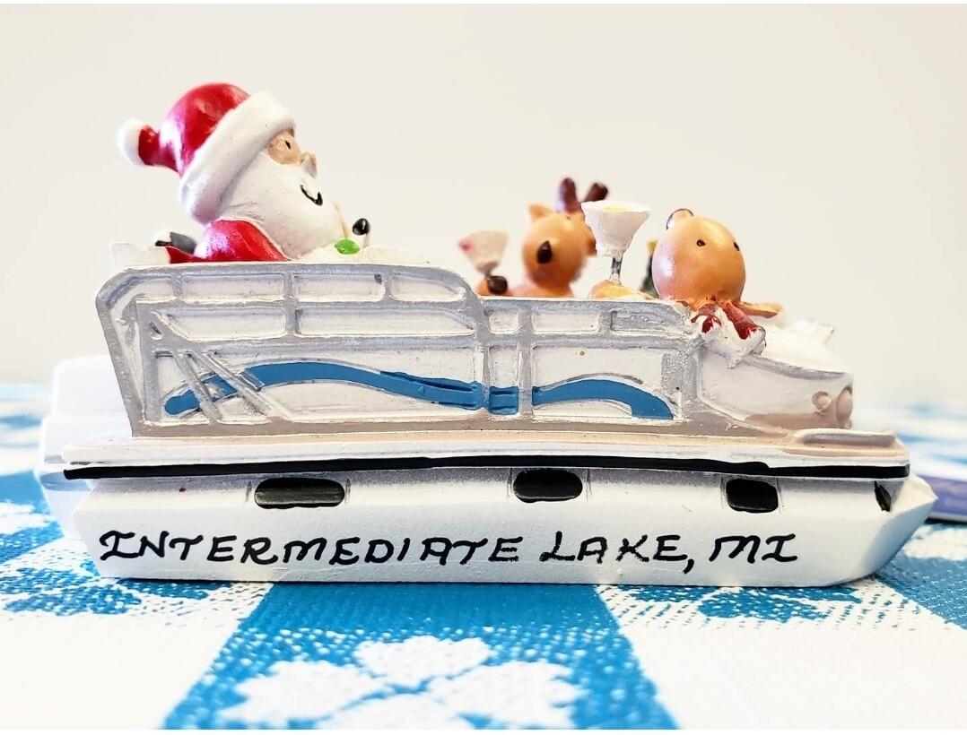 Lake Santa and Reindeer Ornament