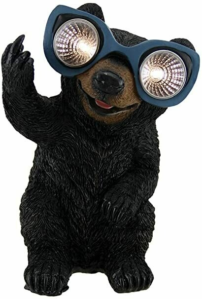 Naughty Bear/Groundhog Solar Eyes LED Light Statue