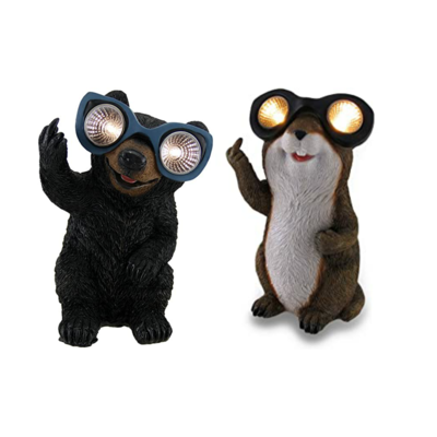 Naughty Bear/Groundhog Solar Eyes LED Light Statue