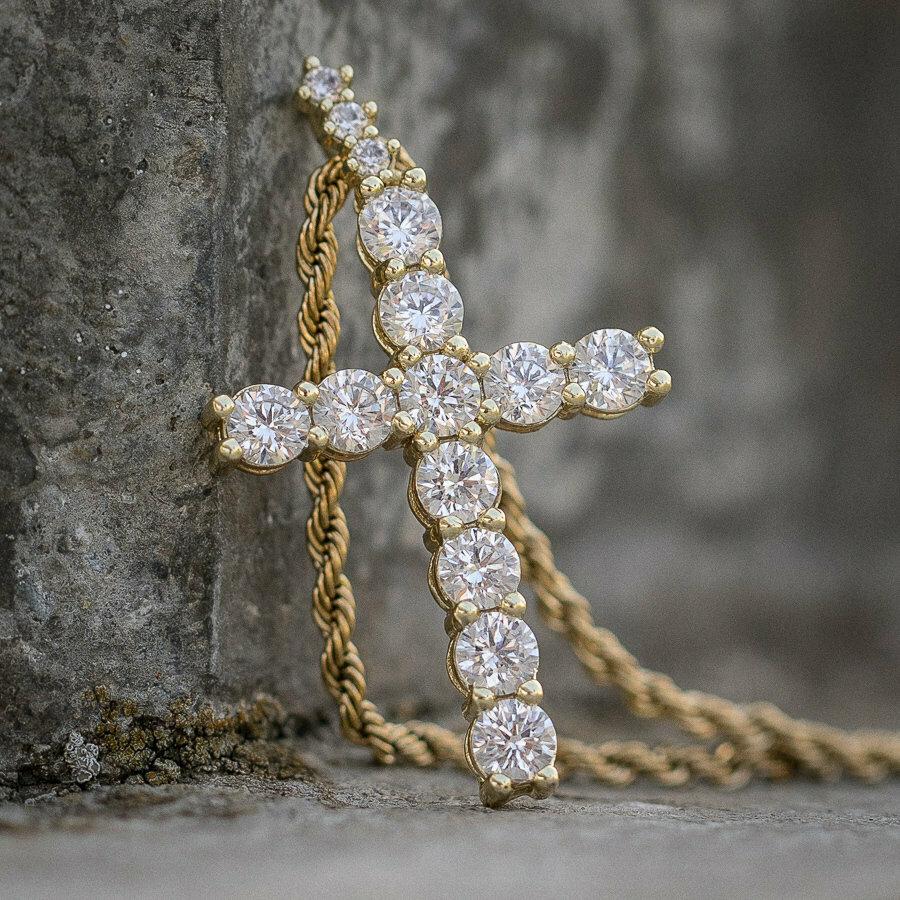 14K Gold Diamond Cross With Chain