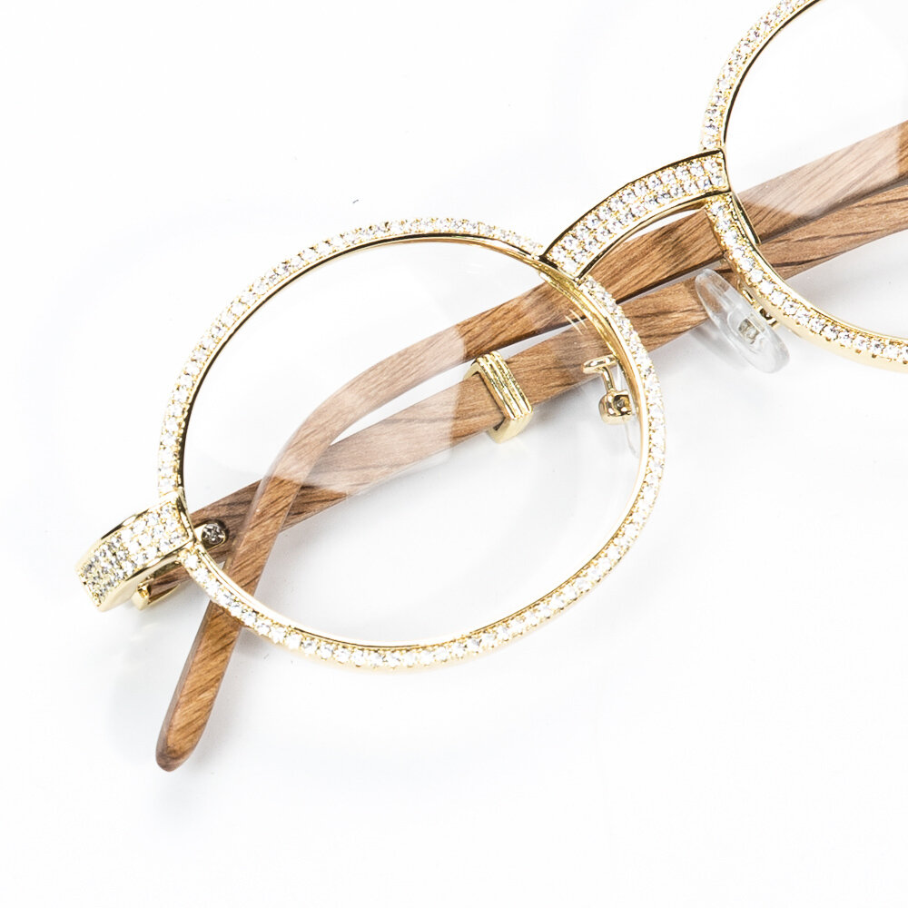 Mens Retro Gold Clear Lens Wood Grain Iced Glasses