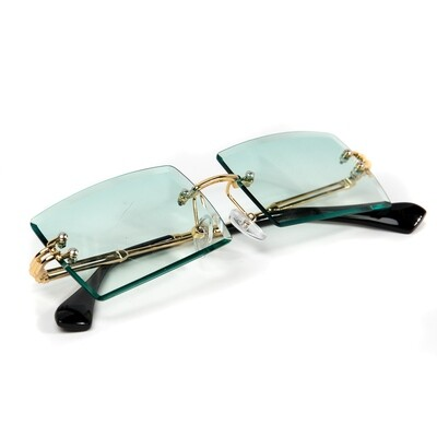 Mens Rimless Gold Rimless Blue Turquoise Sunglasses