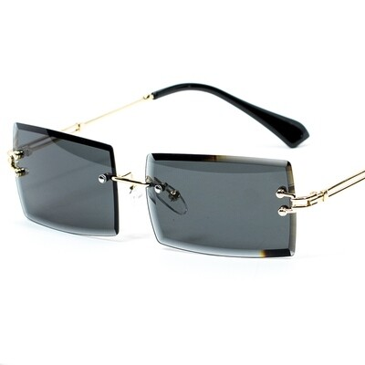 Mens Rectangular Black Tint Gold Rimless Sunglasses