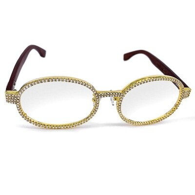 Fully Iced Vintage Gold Clear Lens Wood Glasses