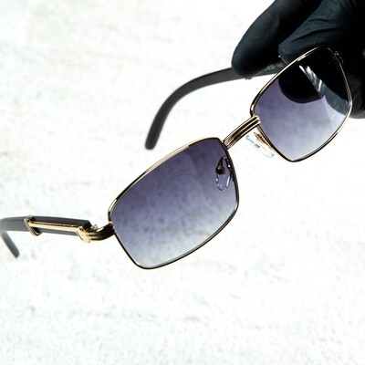Mens Vintage Wood Square Gradient Tint Sunglasses