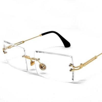 Mens Rimless Gold Frame Clear Tint Glasses