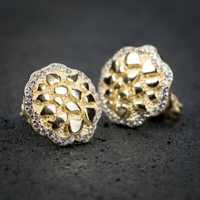 Round 14K Gold Iced Nugget Hip Hop Stud Earrings