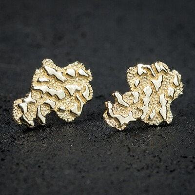 Mens 14k Gold Nugget Stud Screw Back Earrings