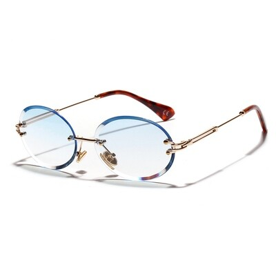 Mens Round Cut Rimless Baby Blue Tint Sunglasses
