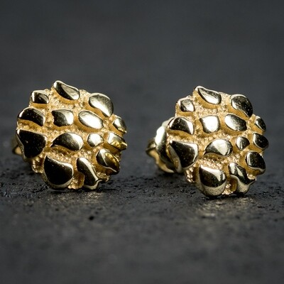 Men's Gold Round Screw Back Nugget Earrings