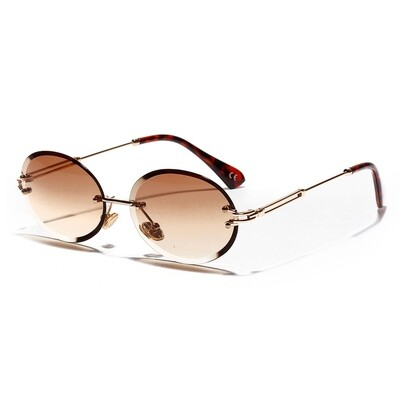 Mens Rimless Round Cut Brown Tint Sunglasses