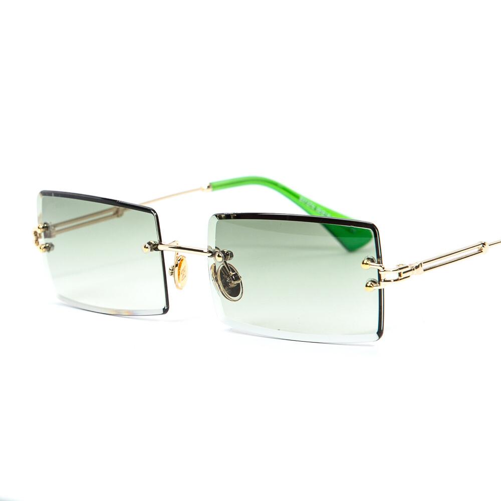 Rectangular Gold Frame Green Tint Rimless Sunglasses