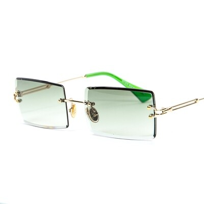 Rectangular Gold Frame Green Tint Rimless Sunglasses