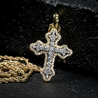 Two Gold Iced Mini Cross Pendant Necklace
