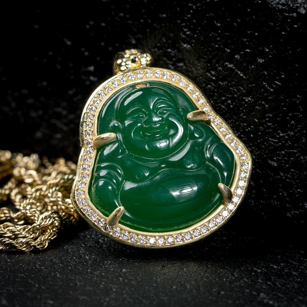 Yellow Gold Iced Green Jade Buddha Pendant Necklace