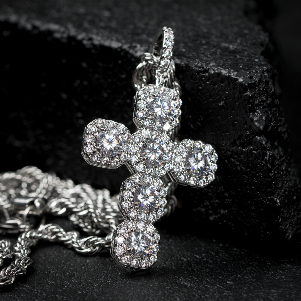 Iced Elegant White Gold Cross Pendant Necklace