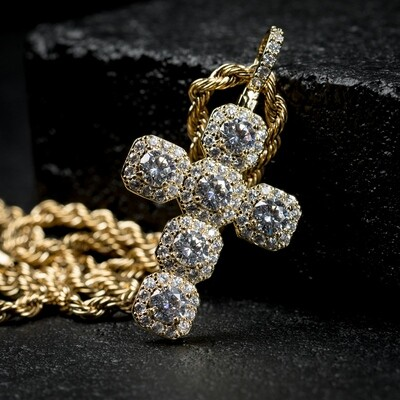 Mens Elegant Iced Gold Cross Pendant Necklace