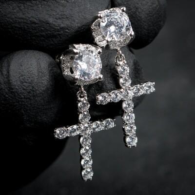 Round Sterling Silver Men's Stud Cross Dangle Earrings