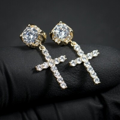 Small Round Gold Stud Cross Dangle Men's Screw Back Earrings