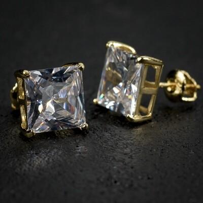 4Ct Yellow Gold Princess Cut Diamond Stud Earrings