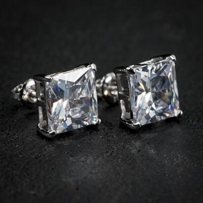 Sterling Silver Square Princess Cut 4Ct Stud Earrings