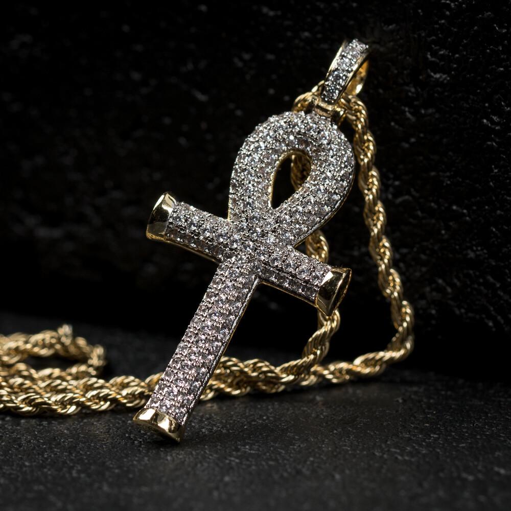 Iced 14k Gold Egyptian Ankh Cross Pendant Necklace
