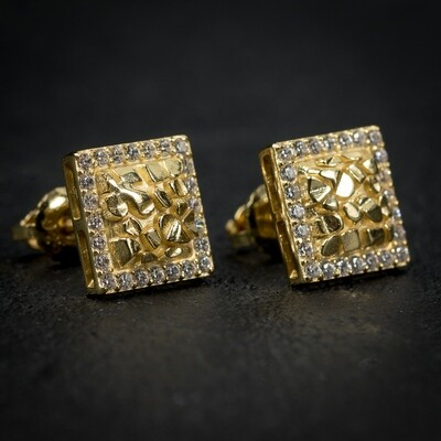 Mens Square Gold Nugget Iced Hip Hop Earrings