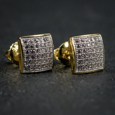 Mens Small Square Micro Pave Gold Hip Hop Stud Earrings